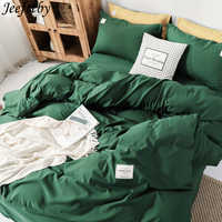 Home Textiles Winter Thickening Bedding Set Dark Green Bed Set 3-4pcs Queen King Duvet Cover + Flat Sheet +pillowcase Bedclothes