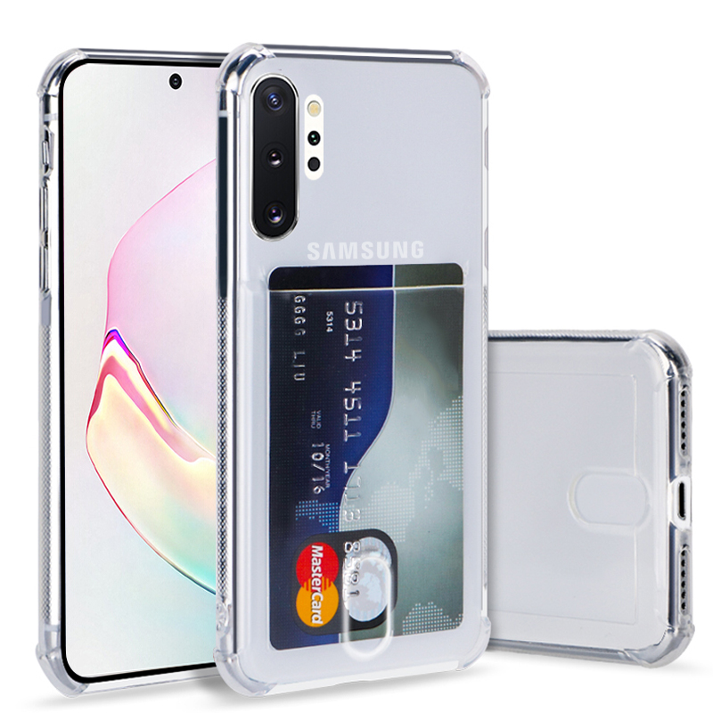 Fashion Credit Card Holder Transparent Case For Samsung Galaxy S20 Ultra S8 S9 Plus S10 Lite Note9 10 A20 A51 A50 A70 TPU Cover