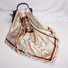 Sailboat Printed Soft Silk Scarf Female Elegant Fashion Handkerchief Square Wrap