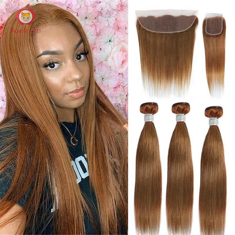 Ombre 2 or 3 or 4 Bundles With Frontal Straight Human Hair Ginger 30 Inch Bundles With Closure Colored Brazilian Remy Applegirl