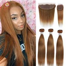 Bundles Closure Human-Hair Ginger Frontal Straight Ombre 30inch Brazilian Applegirl