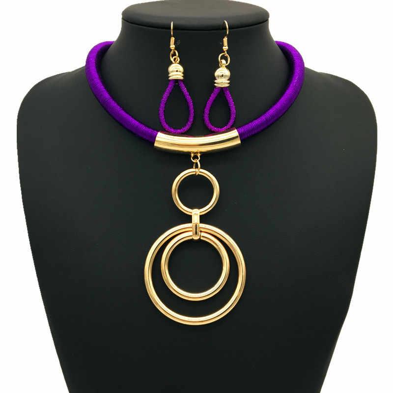 Afrikanische Mode Schmuck-Set frauen Zubehör Metall Ring Anhänger Hochzeit Schmuck Set nigerian perlen halskette schmuck-set