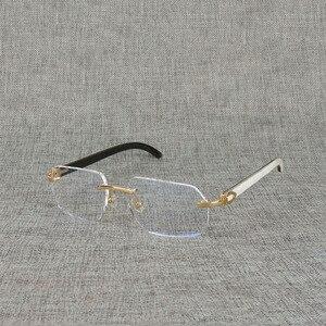 Image 5 - Vintage Natural Wood Clear Glasses Buffalo Horn Oversize Rimless Eyeglasses Frame for Men Reading Optical Square Women Glasses
