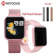 P80 inteligentny zegarek bransoletka z pulsometrem krokomierz Fitness Tracker zespół Smartwatch dla androida Huawei IOS