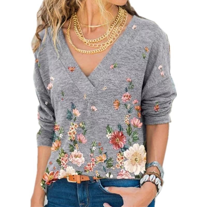Snake YX abbigliamento donna autunno e inverno nuova moda donna scollo a v stampa floreale T-shirt allentata Casual a maniche lunghe taglie forti 1