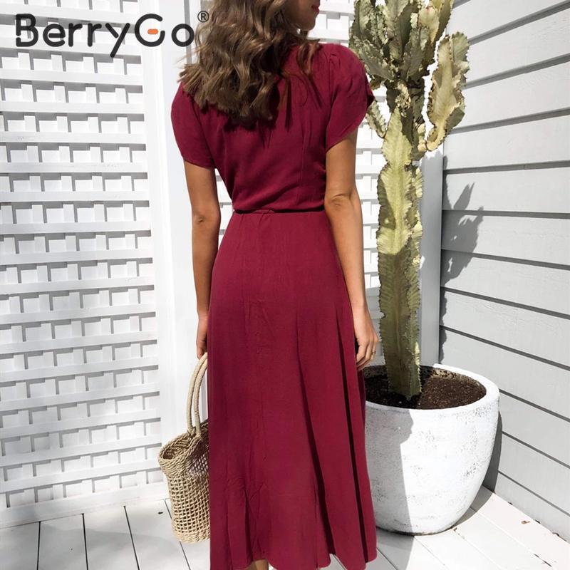 Image 3 - BerryGo Sexy v neck a line solid women dress Elegant ladies cotton slim fit bodycon dress Casual button wrap spring summer dressDresses   -