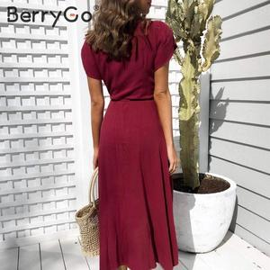 Image 3 - BerryGo Sexy v neck a line solid women dress Elegant ladies cotton slim fit bodycon dress Casual button wrap spring summer dress