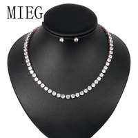 MIEG 6MM Round Cut Cubic Zirconia CZ Crystal Wedding Bridal Jewelry Set in White Gold / Rose Gold Color