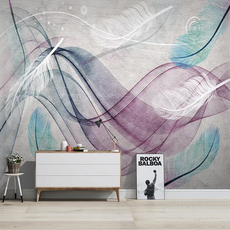 Modern Abstract Art Wallpaper 3D Colorful Feather Line Murals Living Room TV Sofa Background Wall Decor Papel De Parede Frescoes