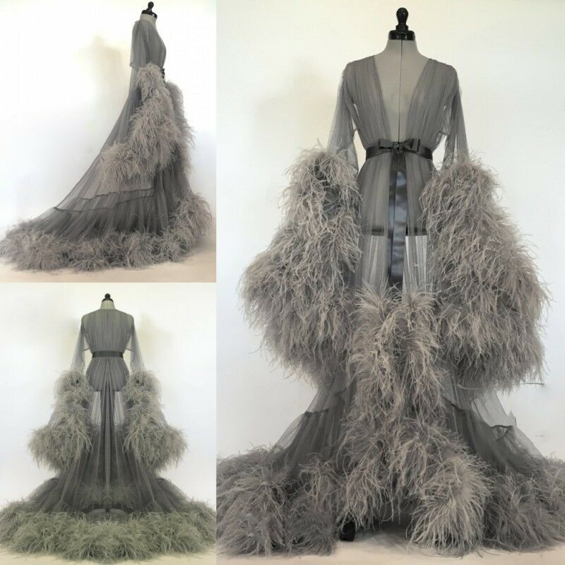 Gray Lady Nightgown Women Sleepwear Long Robes Wedding Bridal Pajamas Faux Fur