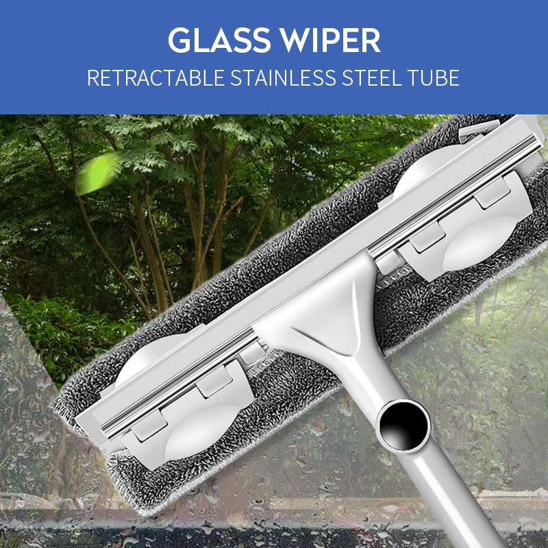 Telescopic Window Cleaner Long Handle Glass Cleaner Microfiber Car Window Cleaning Brush Wiper Squeegee with Rotating Head