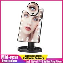 Espejo táctil con luces LED para maquillaje, espejo con aumento de 1X 10X, 16 luces, USB o baterías ajustables brillantes