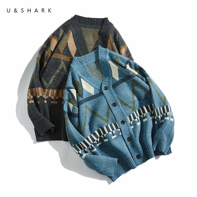 U&SHARK Folk Custom Style Casual Sweater Men V-Neck Cardigan Soft Comfortable Spring Loose Leisure Sweater For Men Knitted Coat