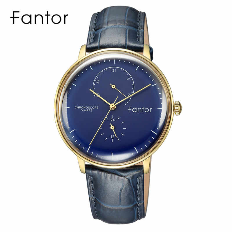 Fantor יוקרה שעון גברים הכרונוגרף קוורץ שעוני יד Mens למעלה מותג אמיתי עור עמיד למים מזדמן שעונים לגבר כחול