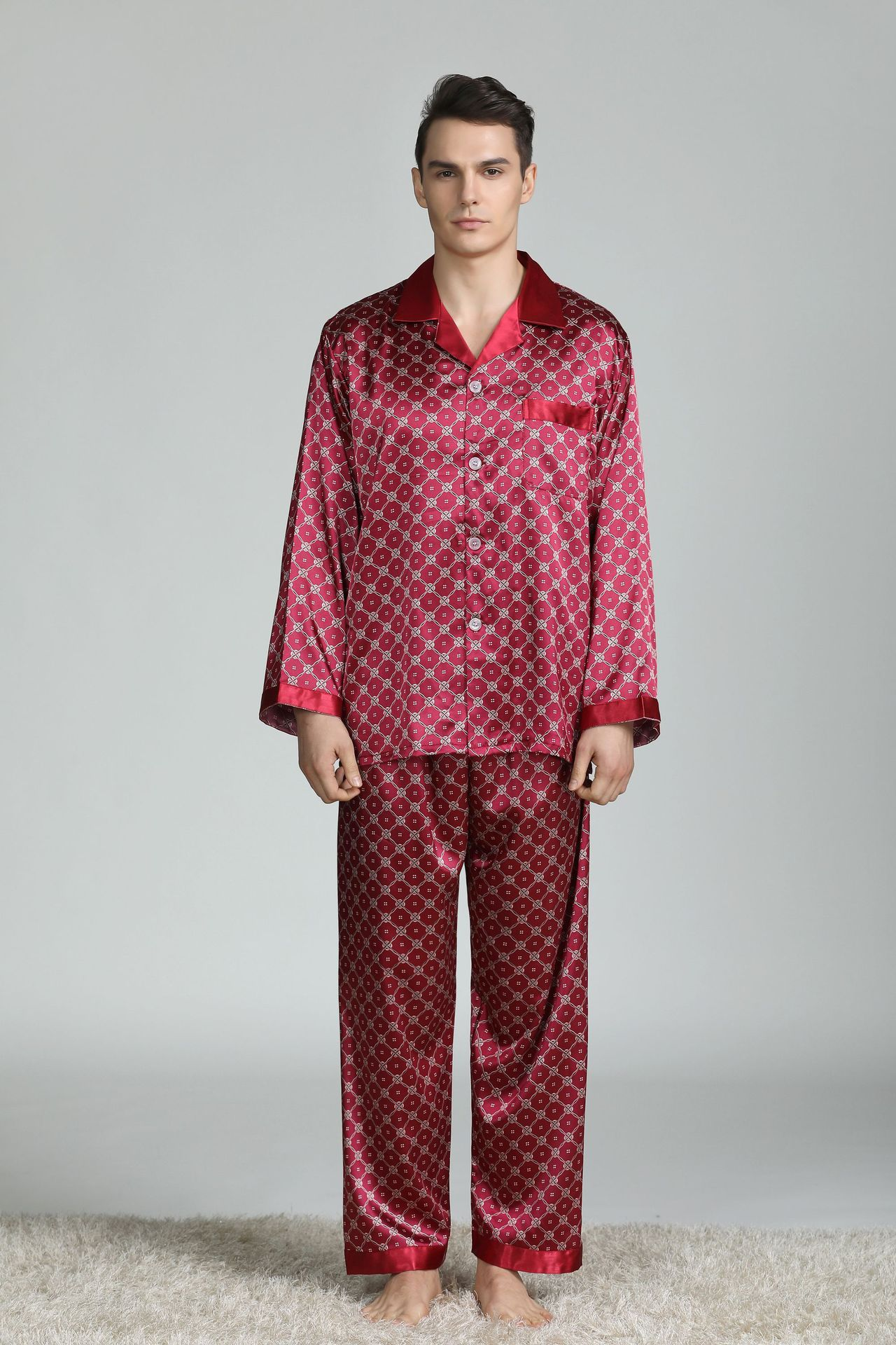 Pijamas de seda para homem sleepwear v-collar