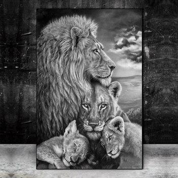 Pósteres e impresiones artísticos de pared de familia de Leones salvajes africanos imágenes de arte de animales pinturas artísticas de león blanco y negro para sala de estar