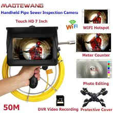 "10/20/30/40/50/M 7"" Wireless WiFi inspection video camera Industrial endoscope sewer pipe drain compatible with Android / IOS(China)"