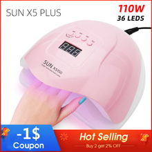 SUN X5 Plus UV LED Lamp For Nails Dryer 110W/36W Gel Nail Drying Varnish 4Timing LCD Ice Manicure