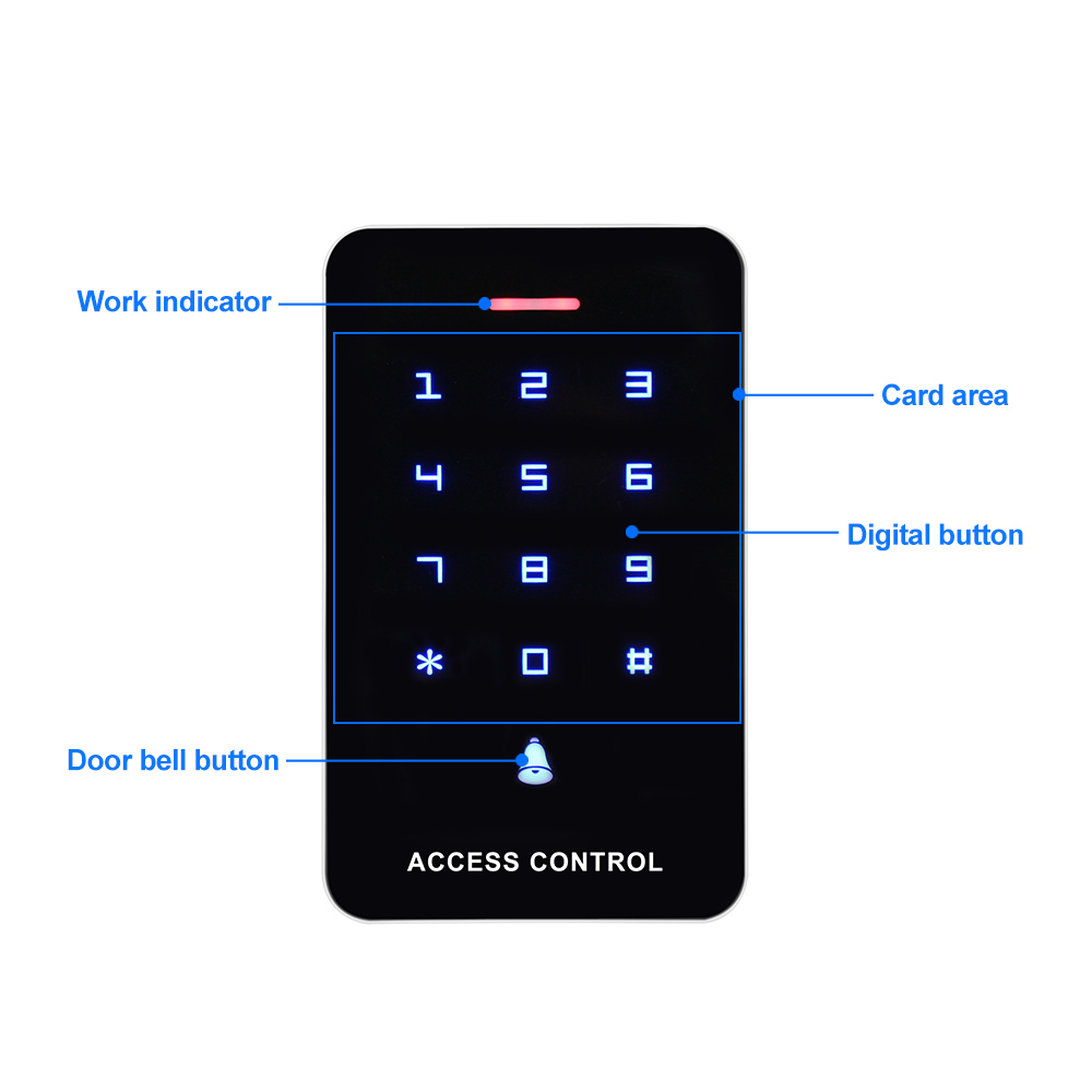 Image 4 - OBO Touch Panel Access Control Keypad RFID Reader Keyboard Access Controller WG26 Door Bell Button + 10pcs EM4100 Keyfobs TagsAccess Control Keypads   -