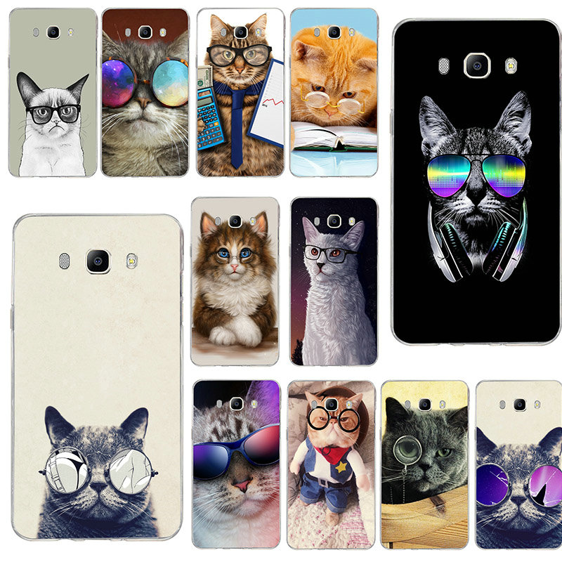 Funny Animal <font><b>Glasses</b></font> Cat Soft TPU Cell Phone Cases for <font><b>Samsung</b></font> <font><b>Galaxy</b></font> S3 S4 S5 Mini S6 S7 Edge <font><b>S8</b></font> S9 S10 Plus Lite Note 4 5 8 9 image