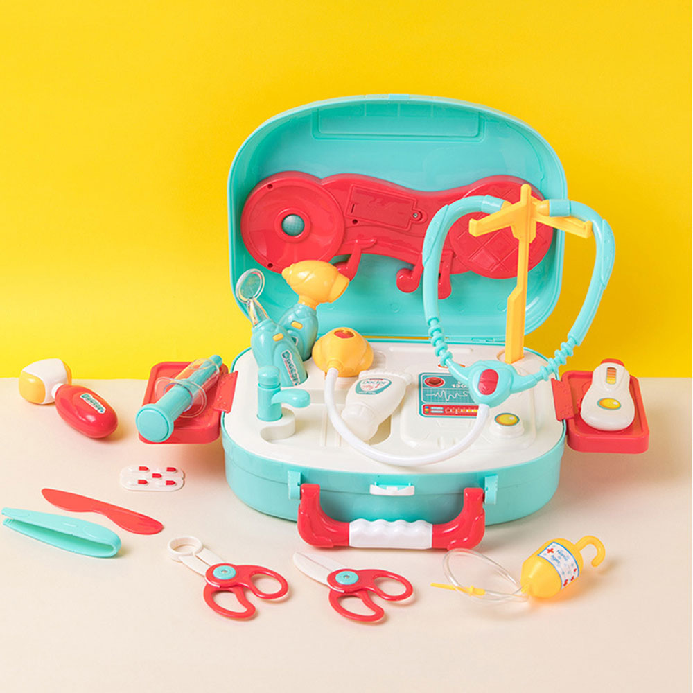 16pcs Funny Play House Toy Pretend Play Toys Children Role Play Doctor Toy Set Simulation Medical Tool Kit Electric Light Music