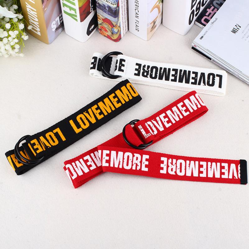 Cool Durable Gifts Students D Ring Casual Letter Printed All Matching Canvas Women Men Waist Belt Jeans Fashion Double Buckle