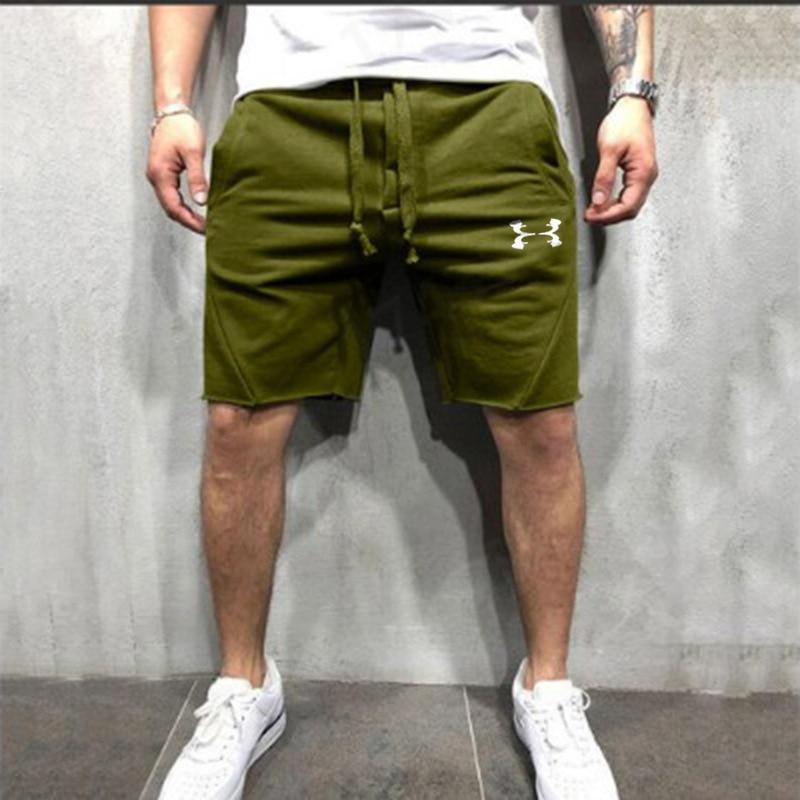 Fashion Men Knee-length Cotton Shorts with Elastic Drawstring Waist Men's Sweatshort with Side Pockets Summer Shorts Short Pants