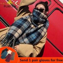 PLIKTEA клетчатый шарф из искусственного кашемира для женщин, шерстяная Пашмина, зимняя теплая шаль, женское клетчатое пончо, женские толстые шарфы с кисточками