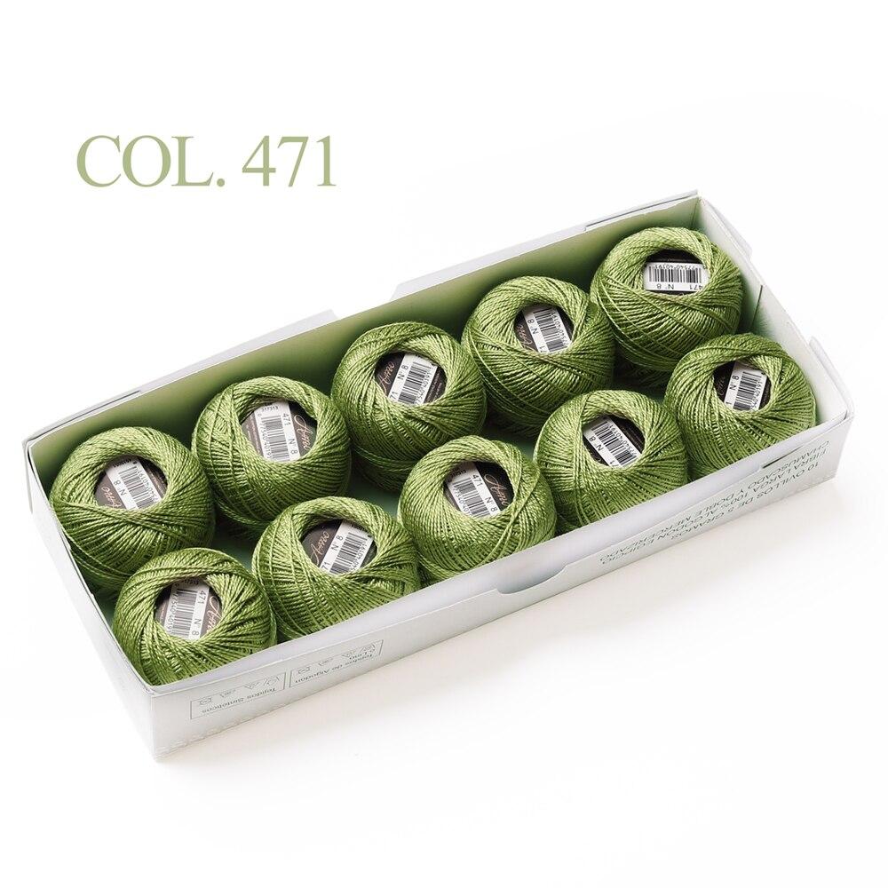 10 коробка с шариками Размер 8 жемчуг Хлопок нитки для вязания 43 ярдов двойная Мерсеризация длинный штапель из египетского хлопка 79 DMC цвета - Цвет: 471