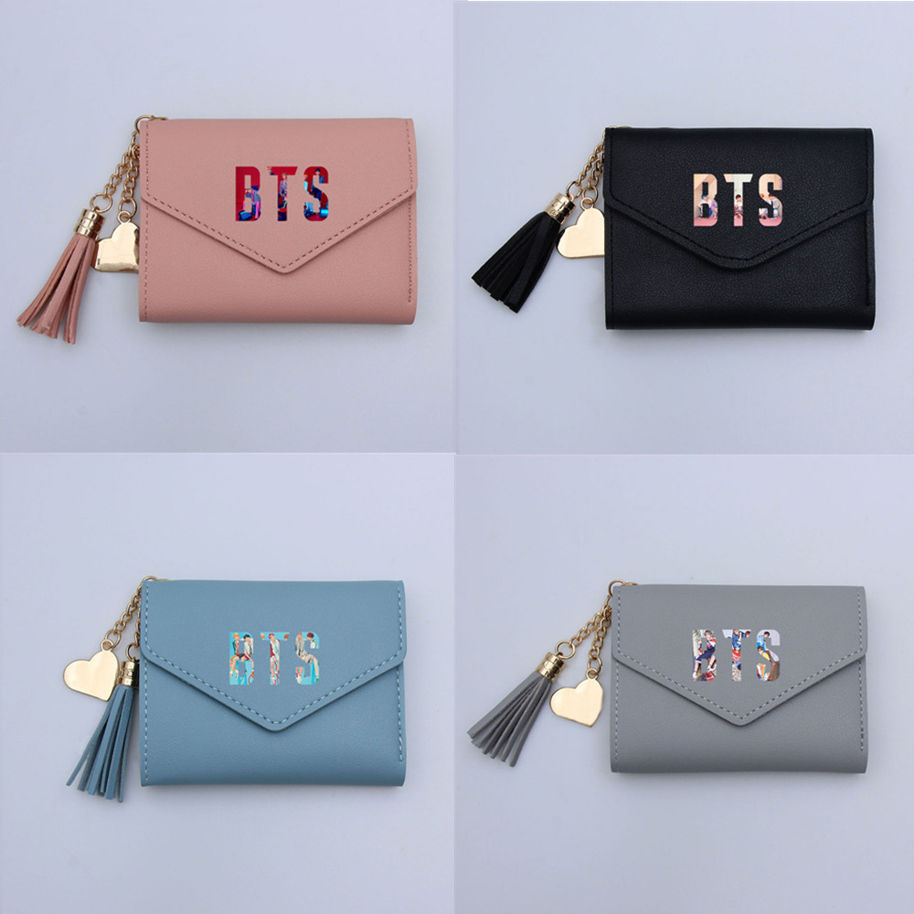 BTS Wallet Bulletproof Boys Related Products New Style Wallet Tassels Short Folding Wallet Students Portable Card Bag