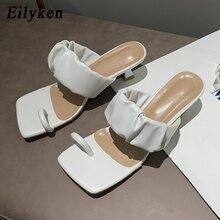 Sandalias de Clip dedos con punta cuadrada Vintage de Eilyken, chanclas para mujer, sandalias de cuero plisado a la moda, zapatos de baile de fiesta para mujer con tacón bajo