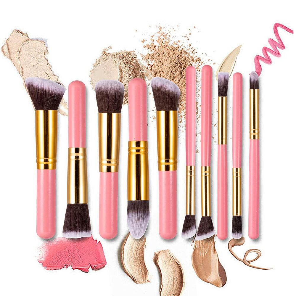10 Pcs Makeup Brushes Set Eye Shadow Foundation Powder Eyeliner Eyelash Lip Brush Cosmetic Beauty Tool Kit Rangement Maquillage