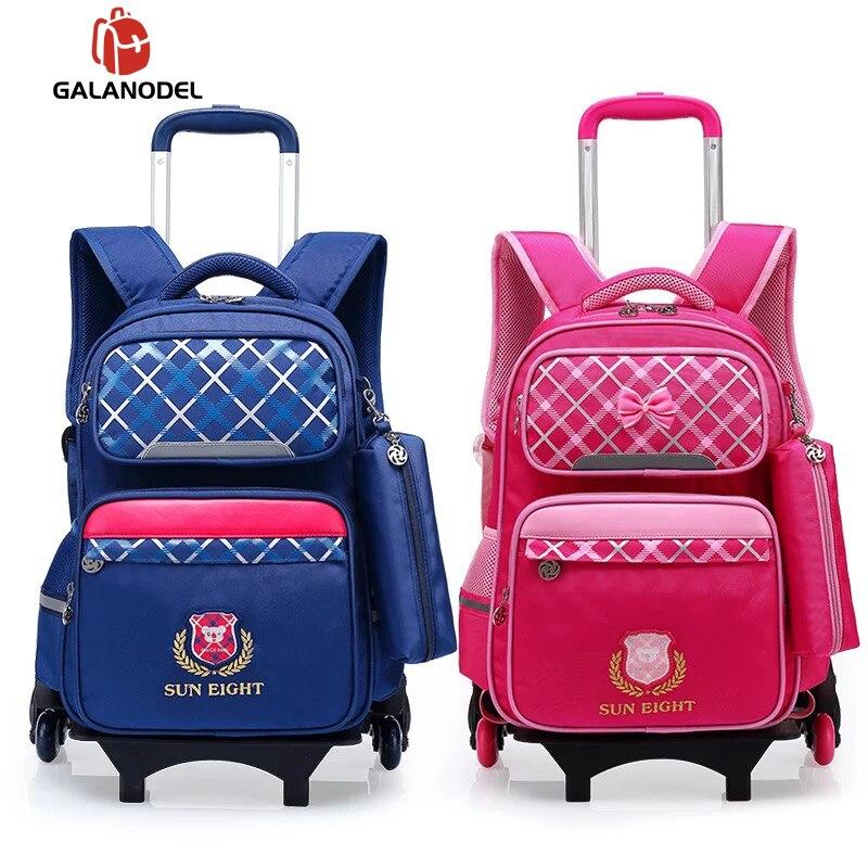 Sacs pour enfants sac à dos d'école Trolley sac à roulettes 6 rond Nylon imperméable-sac mode sac pour enfants Mochila Escolar