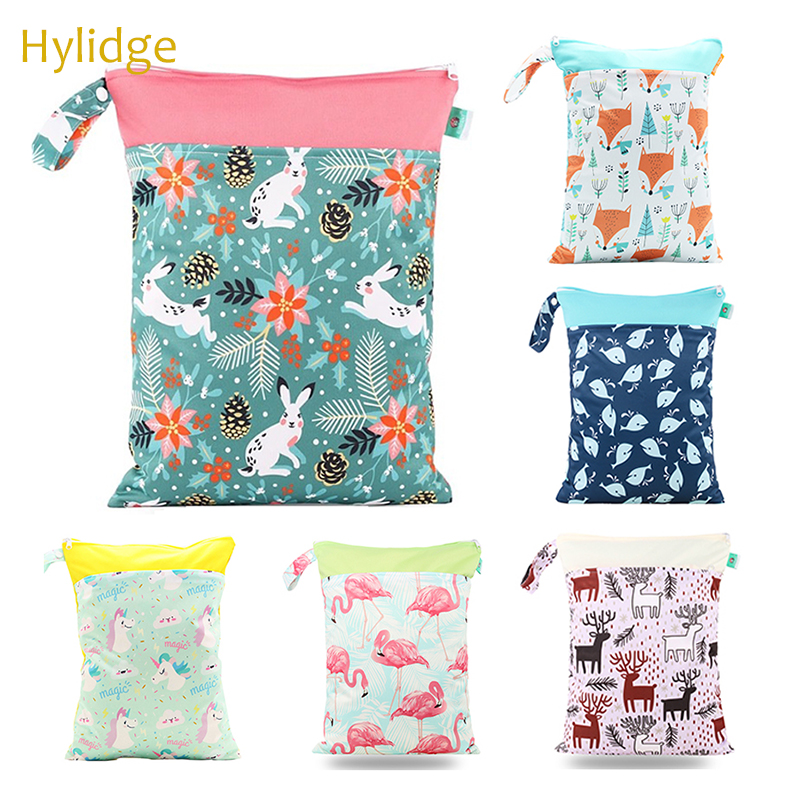Hylidge Reusable Cloth Snacks Bag Wetbag 30*40 CM Baby Small Diaper Bag For Mommy Waterproof Snack Cloth Bags Sandwich Bag Cloth