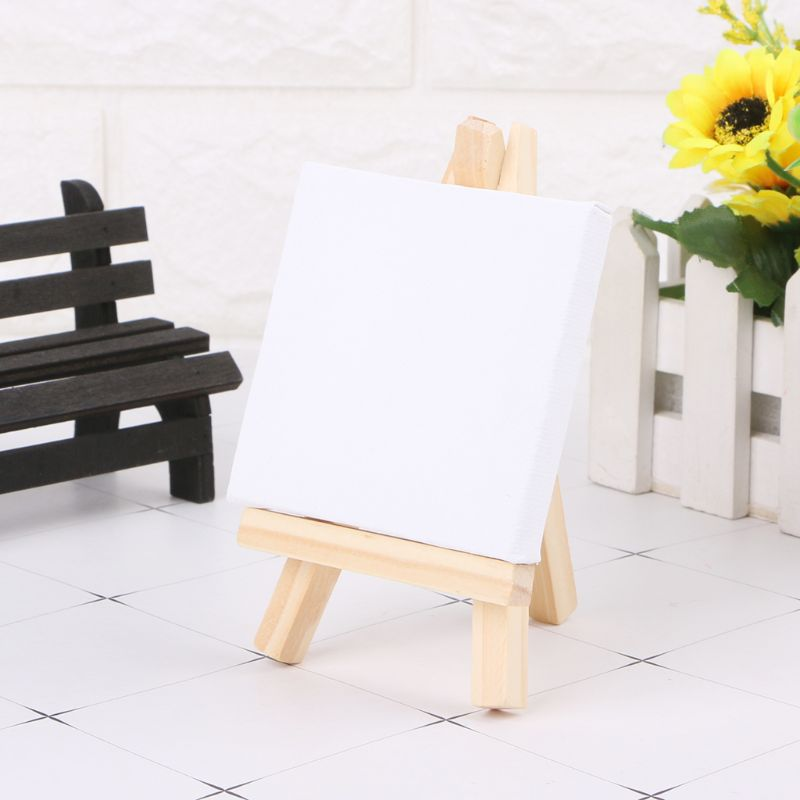 4 Sizes Easel+frame Mini Canvas And Natural Wood Easel Set For Art Painting Drawing Craft Wedding Supply School