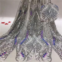 Quality African Lace Fabric Wholesale French gray Lace Fabric with Sequins Embroidery Lace Fabric for Wedding Party
