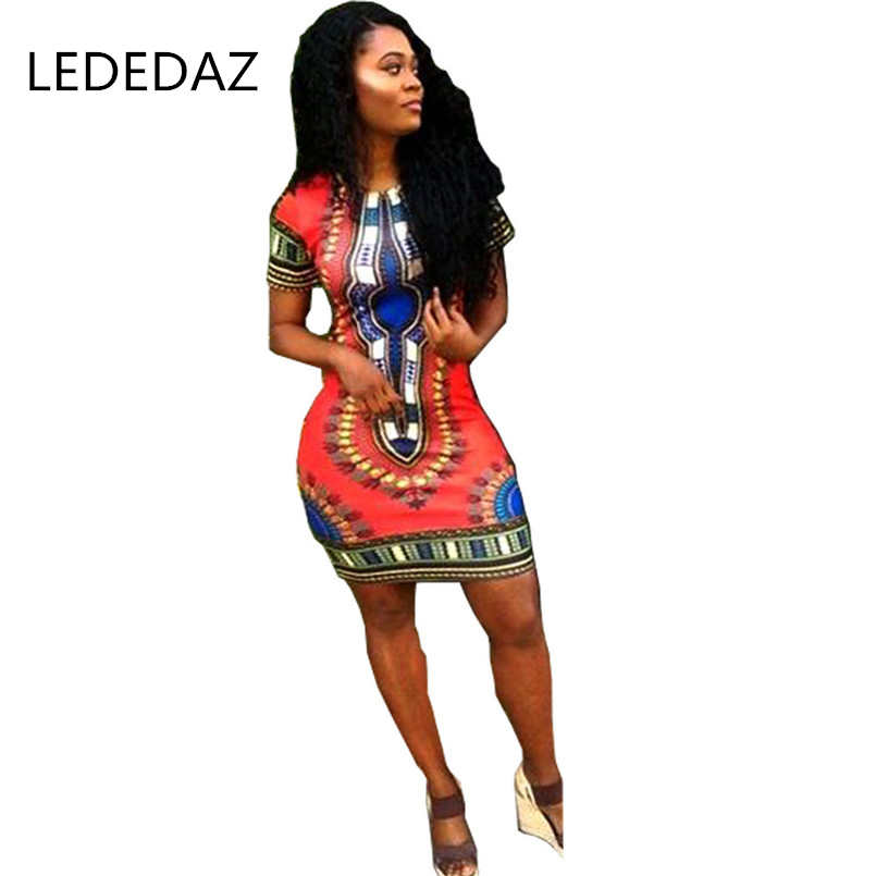 LEDEDAZ Summer Fashion Ethnic Print African Dresses For Women Bazin Vestidos Sexy Dashiki African Clothes Red / Pink / Yellow