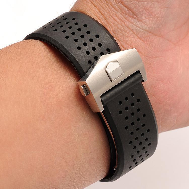 22 24mm de alta qualidade arc end pulseira borracha para tag heuer carrera aquaracer esporte dwaterproof água relógio pulso masculino