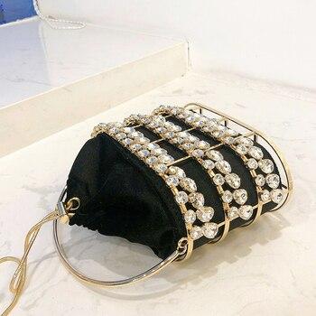 Black & Apricot Silver Diamond Metal Basket Ladies Shoulder Chain Tote  5