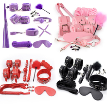 10 Pcs/set Sexy Lingerie PU Leather bdsm Bondage Set Sex Hand Cuffs Footcuff Whip Rope Blindfold Erotic Toys intimate goods
