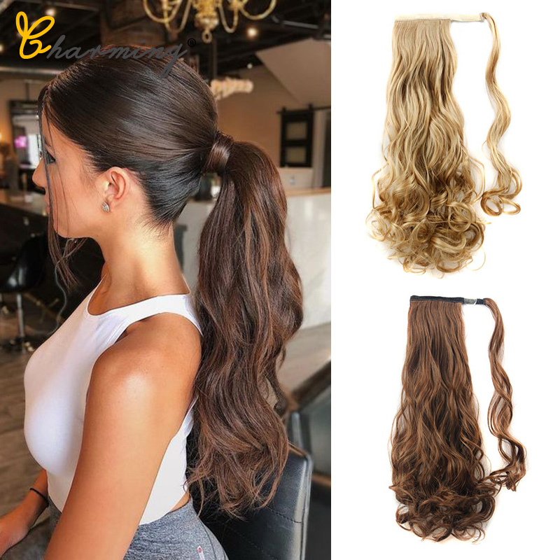 CHARMING Hair Ponytail Hairpiece 24' Long Cruly False Hair  With Hairpins Synthetic Hair Sport Pony Tail Hair Extension