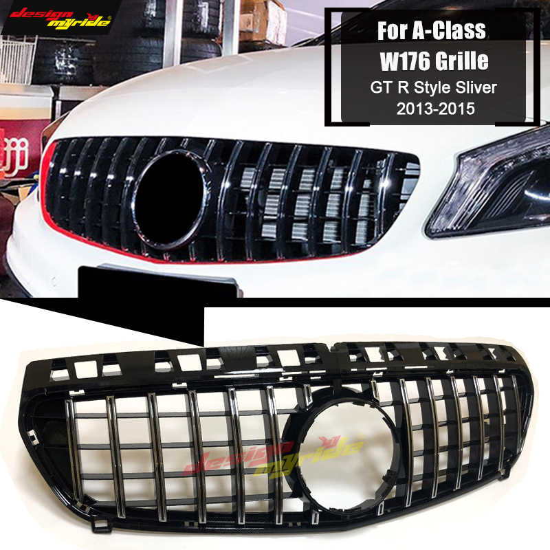 W176 GT R ด้านหน้า Racing Grill Grille ABS Silver สำหรับ Mercedes A-Class A180 A200 A250 A45 ดู grills ไม่มีสัญลักษณ์ 2013-15