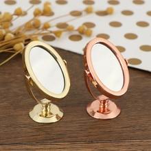 Casa de muñecas miniatura Vintage Glod plateado oro rosa vanidad Mini espejo 1/12 escala muñecas muebles de baño accesorios de juguete