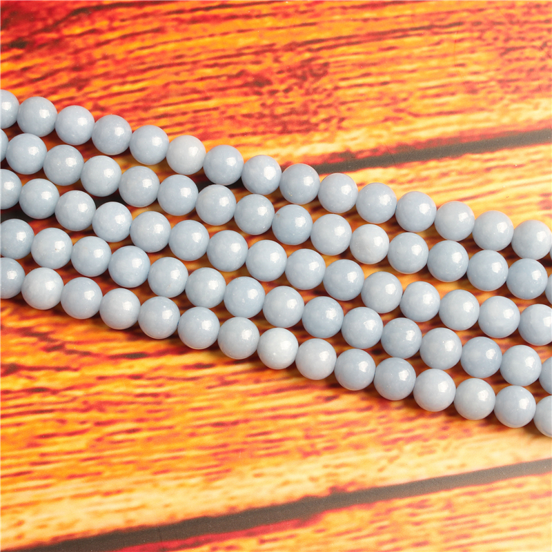 Natural Aquamarine Natural Stone Bead Round Loose Spaced Beads 15 Inch Strand 4/6/8 / 10mm For Jewelry Making DIY Bracelet