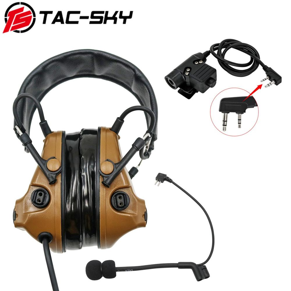 TAC-SKY Military Walkie-talkie Adapter KENWOOD U94 PTT + COMTAC III Silicone Earmuffs Noise Reduction Pickup Tactical Headset CB