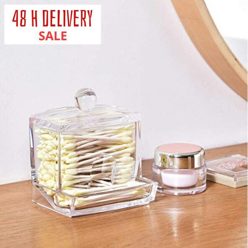 Transparent Cotton Swab Storage Box Makeup Organizer  Acrylic Storage Box Cotton Swab Cosmetic Box Bathroom Bedroom Storage