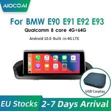안드로이드 10.0 카플레이 네비게이션 멀티미디어 플레이어 라디오 BMW 시리즈 3 E90 E91 E92, 오리지널 화면 없음 퀄컴 코어