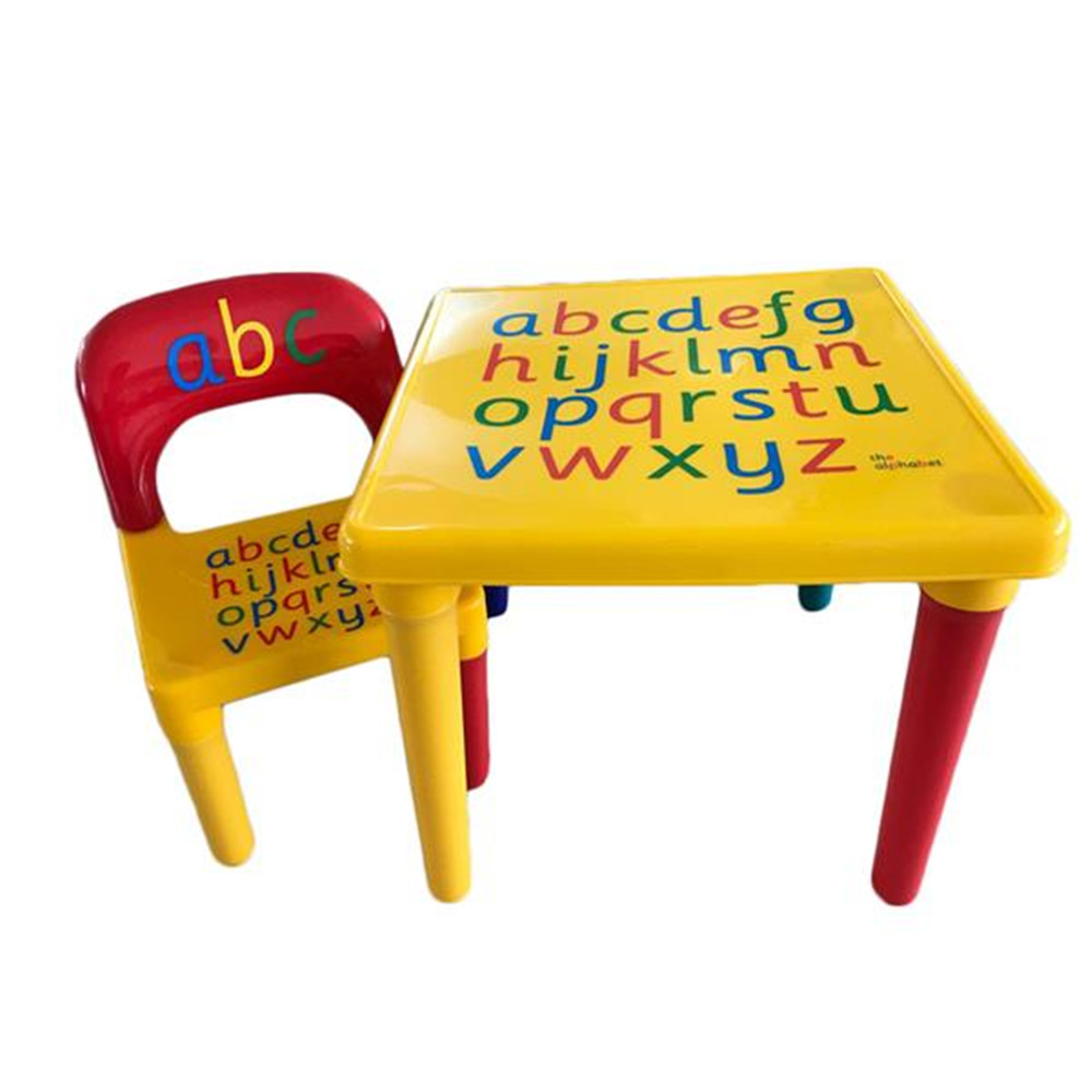 Cute Children Letter Table Chair Set Yellow & Red Plastic Children Supplies Girls Table Chair For Home Kindergarden