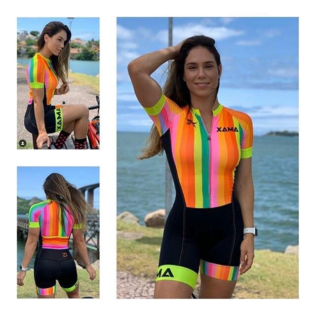Pro equipe xama ciclismo triathlon terno feminino colorido manga curta macacão aero corrida trisuit ciclismo skinsuit correndo roupas 1