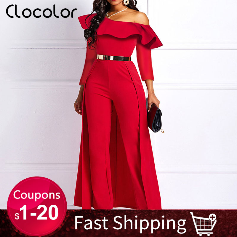 2020 Wide Legs Sexy Jumpsuits for Women One Shoulder Long Sleeve Casual Elegant Femme Party Swallowtail Overalls Long Jumpsuits